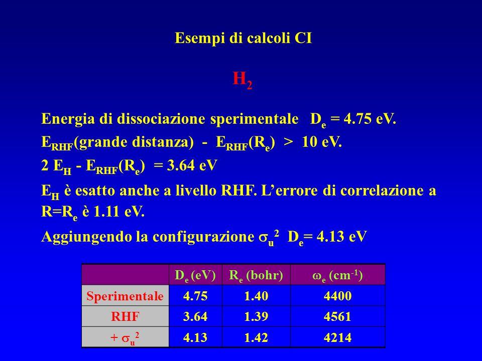 Esempi di calcoli CI H 2 Energia di dissociazione sperimentale D e = 4.75 eV. E RHF (grande distanza) - E RHF (R e ) > 10 eV. 2 E H - E RHF (R e ) = 3