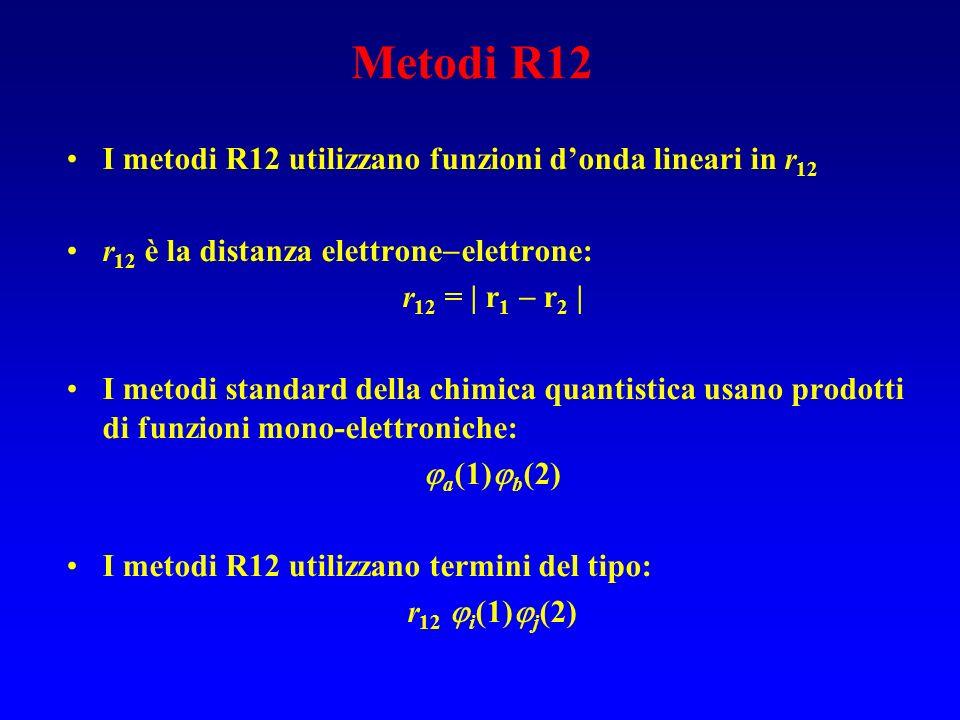 Metodi R12 I metodi R12 utilizzano funzioni donda lineari in r 12 r 12 è la distanza elettrone elettrone: r 12 = | r 1 r 2 | I metodi standard della c