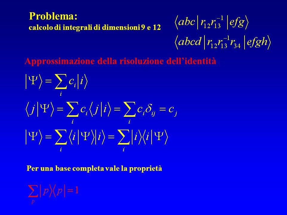 Approssimazione della risoluzione dellidentità Per una base completa vale la proprietà Problema: calcolo di integrali di dimensioni 9 e 12