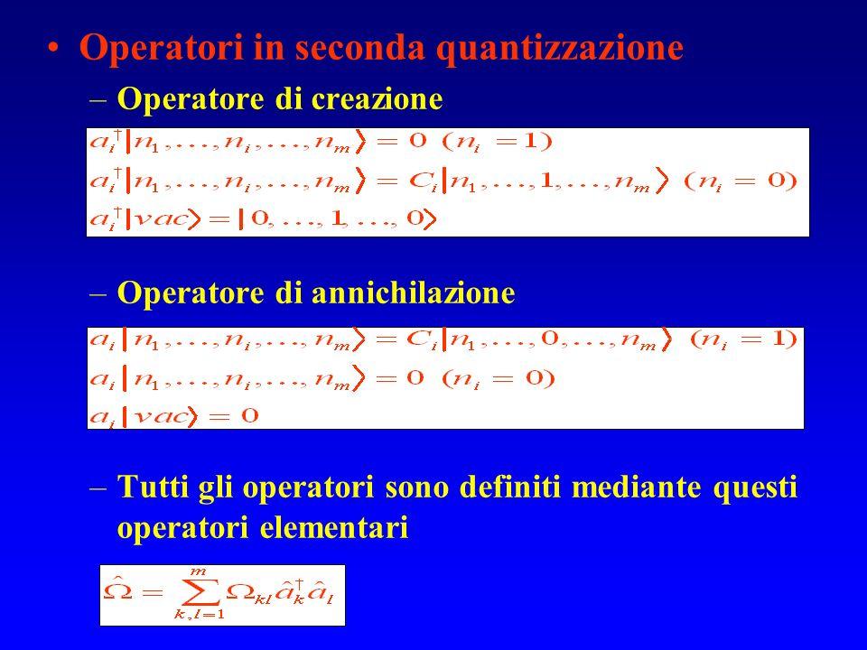 Operatori in seconda quantizzazione –Operatore di creazione –Operatore di annichilazione –Tutti gli operatori sono definiti mediante questi operatori