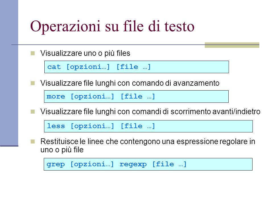 Operazioni su file di testo Visualizzare uno o più files Visualizzare file lunghi con comando di avanzamento Visualizzare file lunghi con comandi di scorrimento avanti/indietro Restituisce le linee che contengono una espressione regolare in uno o più file cat [opzioni…] [file …] more [opzioni…] [file …] less [opzioni…] [file …] grep [opzioni…] regexp [file …]