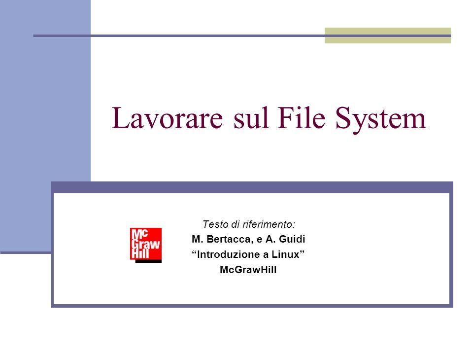 Lavorare sul File System Testo di riferimento: M. Bertacca, e A.