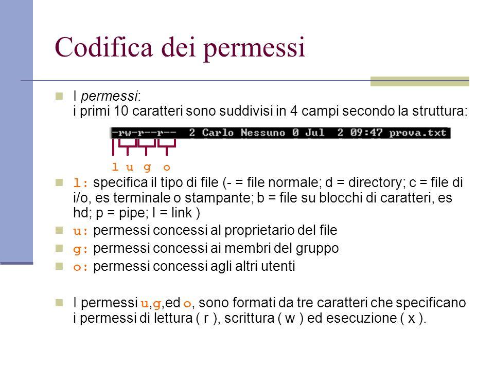 Codifica dei permessi I permessi: i primi 10 caratteri sono suddivisi in 4 campi secondo la struttura: l: specifica il tipo di file (- = file normale; d = directory; c = file di i/o, es terminale o stampante; b = file su blocchi di caratteri, es hd; p = pipe; l = link ) u: permessi concessi al proprietario del file g: permessi concessi ai membri del gruppo o: permessi concessi agli altri utenti I permessi u, g,ed o, sono formati da tre caratteri che specificano i permessi di lettura ( r ), scrittura ( w ) ed esecuzione ( x ).