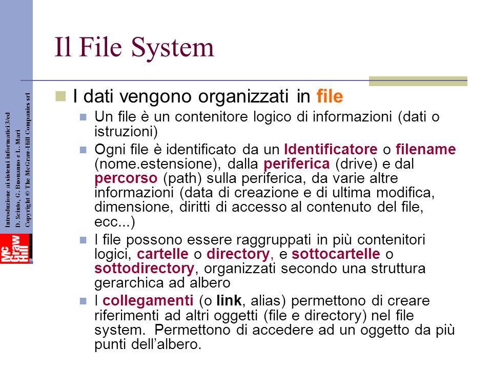 Il File System I dati vengono organizzati in file Un file è un contenitore logico di informazioni (dati o istruzioni) Ogni file è identificato da un Identificatore o filename (nome.estensione), dalla periferica (drive) e dal percorso (path) sulla periferica, da varie altre informazioni (data di creazione e di ultima modifica, dimensione, diritti di accesso al contenuto del file, ecc...) I file possono essere raggruppati in più contenitori logici, cartelle o directory, e sottocartelle o sottodirectory, organizzati secondo una struttura gerarchica ad albero I collegamenti (o link, alias) permettono di creare riferimenti ad altri oggetti (file e directory) nel file system.