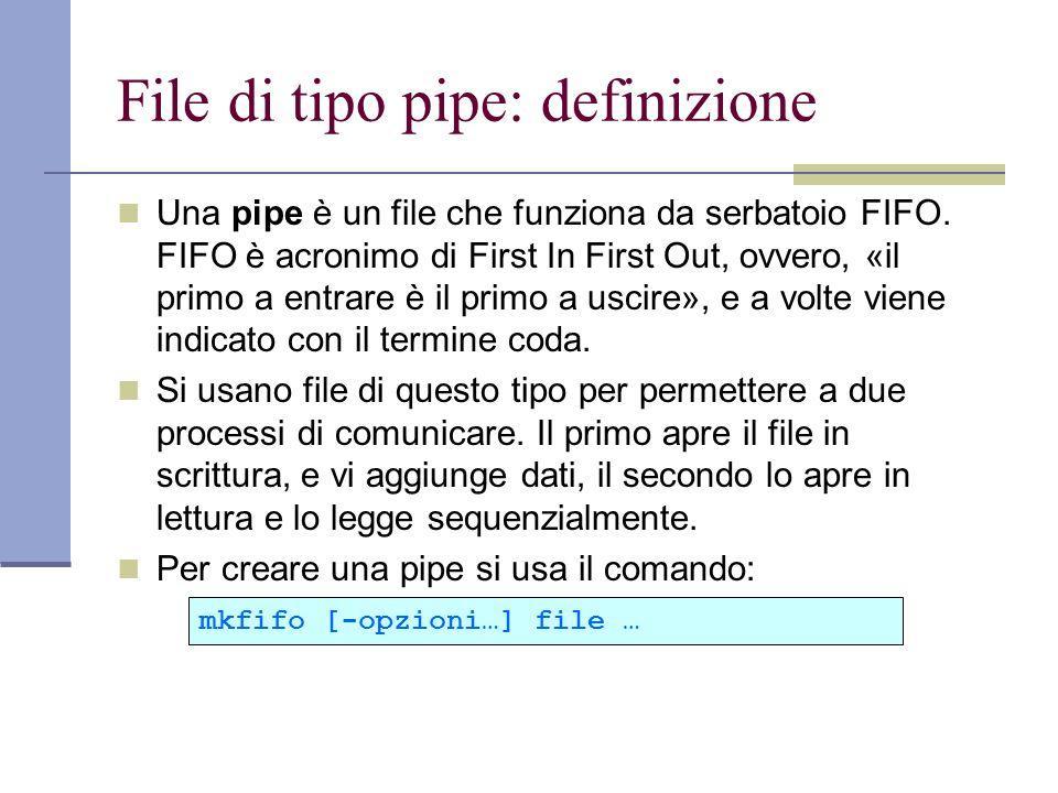 File di tipo pipe: definizione Una pipe è un file che funziona da serbatoio FIFO.