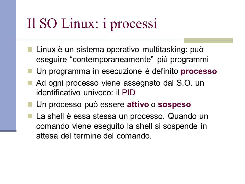 Il SO Linux: i processi Linux è un sistema operativo multitasking: può eseguire contemporaneamente più programmi Un programma in esecuzione è definito processo Ad ogni processo viene assegnato dal S.O.