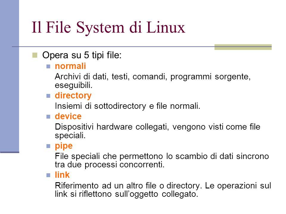 Visualizzazione dei link Con il comando $ ls –l vengono visulizzate informazioni sul numero di link per file e directory e sulla natura del file