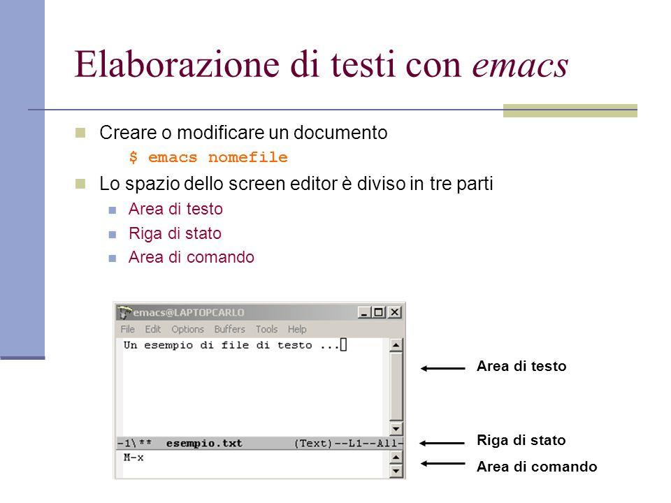 Elaborazione di testi con emacs Creare o modificare un documento $ emacs nomefile Lo spazio dello screen editor è diviso in tre parti Area di testo Riga di stato Area di comando Area di testo Riga di stato Area di comando