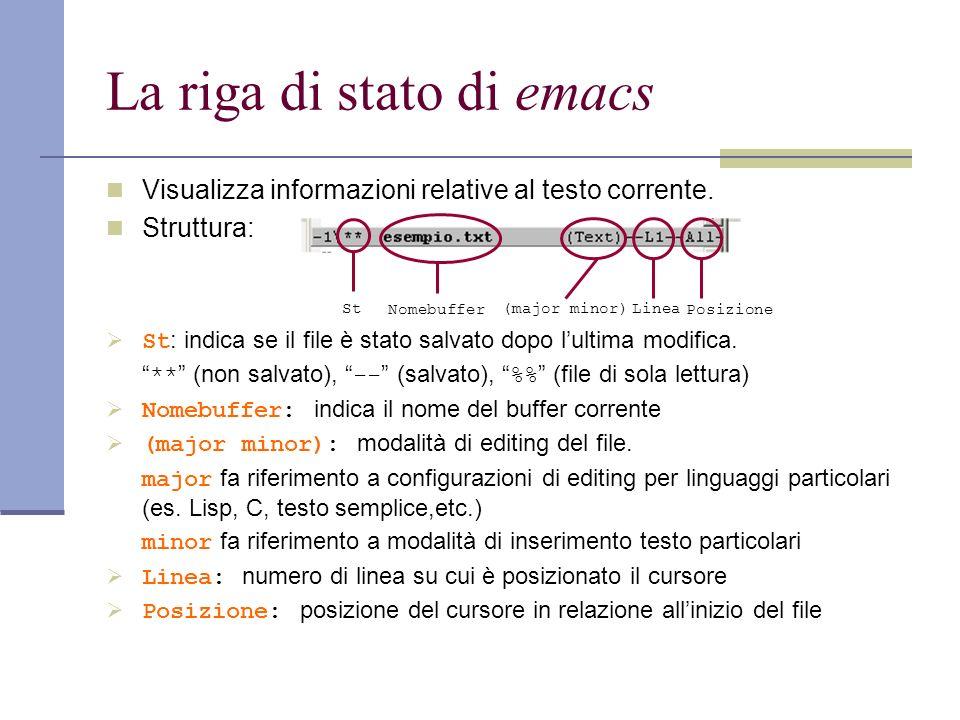 La riga di stato di emacs Visualizza informazioni relative al testo corrente.