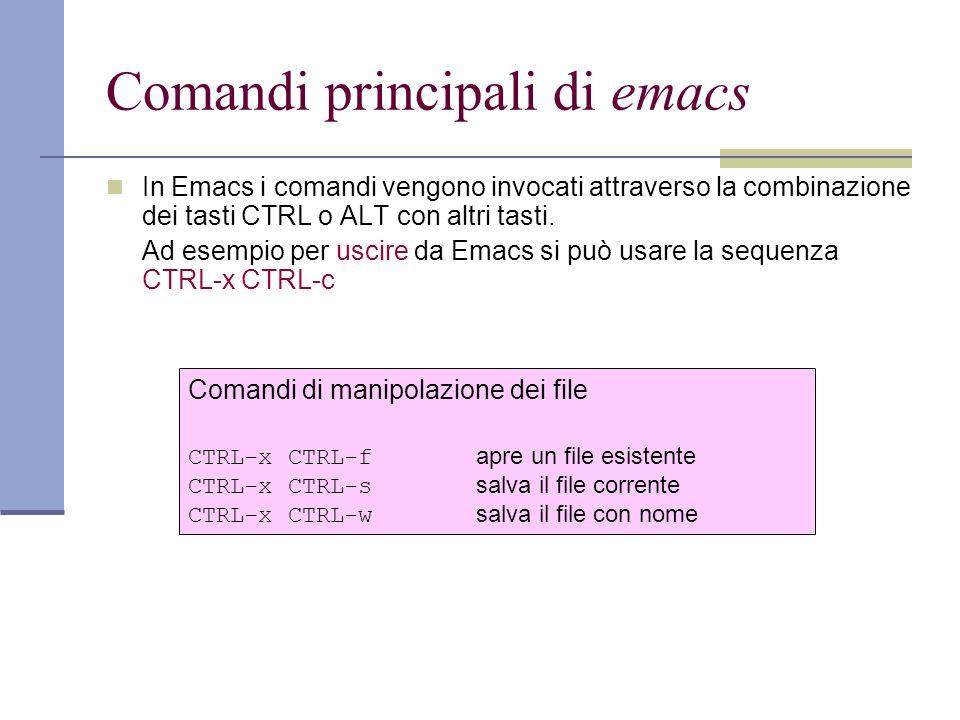 Comandi principali di emacs In Emacs i comandi vengono invocati attraverso la combinazione dei tasti CTRL o ALT con altri tasti.