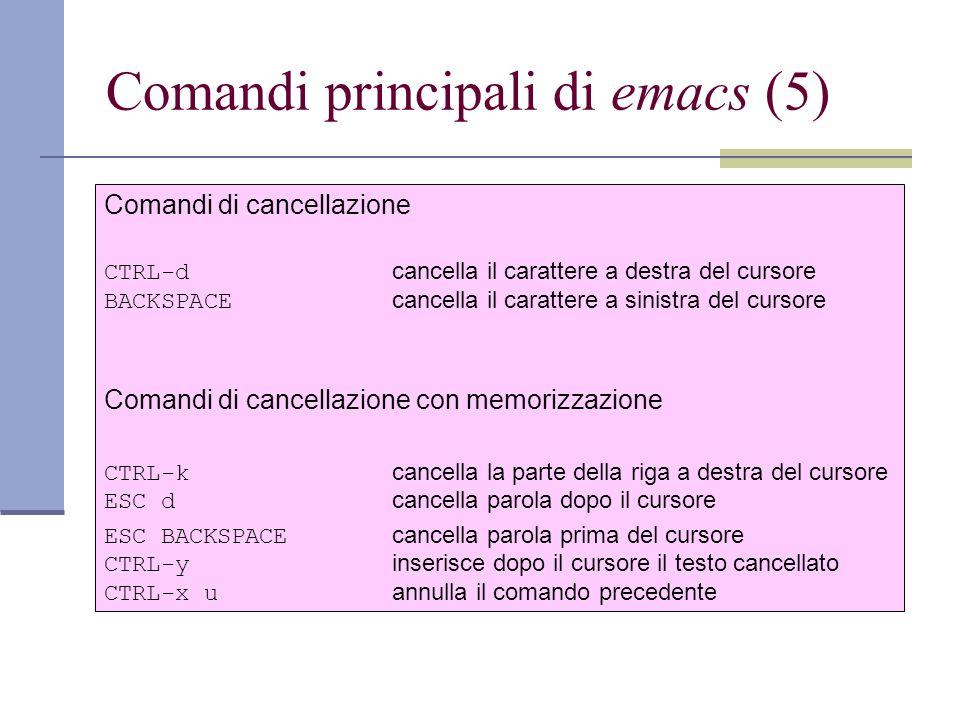 Comandi principali di emacs (5) Comandi di cancellazione CTRL-d cancella il carattere a destra del cursore BACKSPACE cancella il carattere a sinistra del cursore Comandi di cancellazione con memorizzazione CTRL-k cancella la parte della riga a destra del cursore ESC d cancella parola dopo il cursore ESC BACKSPACE cancella parola prima del cursore CTRL-y inserisce dopo il cursore il testo cancellato CTRL-x u annulla il comando precedente