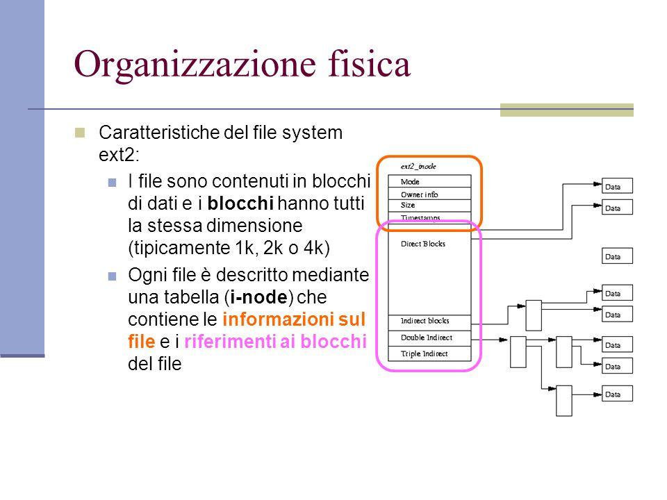 Organizzazione fisica Caratteristiche del file system ext2: I file sono contenuti in blocchi di dati e i blocchi hanno tutti la stessa dimensione (tipicamente 1k, 2k o 4k) Ogni file è descritto mediante una tabella (i-node) che contiene le informazioni sul file e i riferimenti ai blocchi del file