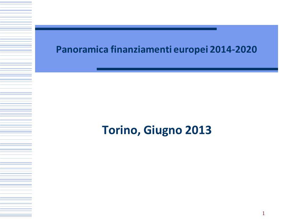 1 Panoramica finanziamenti europei 2014-2020 Torino, Giugno 2013
