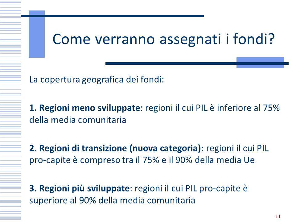 11 Come verranno assegnati i fondi? La copertura geografica dei fondi: 1. Regioni meno sviluppate: regioni il cui PIL è inferiore al 75% della media c