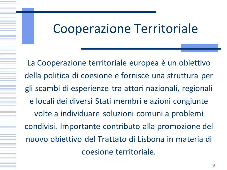 Cooperazione Territoriale La Cooperazione territoriale europea è un obiettivo della politica di coesione e fornisce una struttura per gli scambi di e