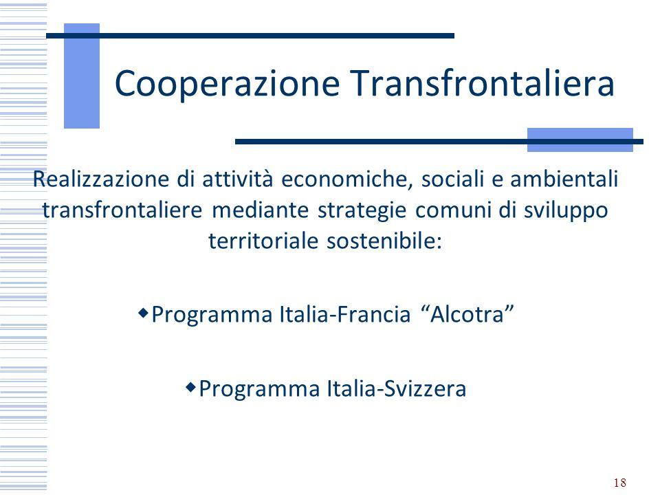 Cooperazione Transfrontaliera Realizzazione di attività economiche, sociali e ambientali transfrontaliere mediante strategie comuni di sviluppo territ