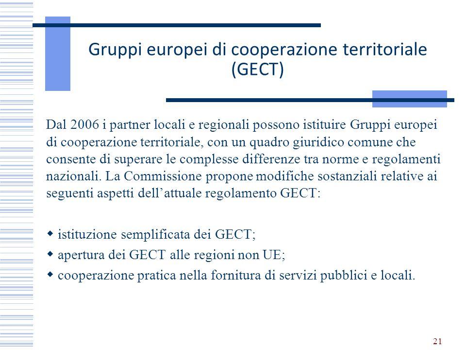 Gruppi europei di cooperazione territoriale (GECT) Dal 2006 i partner locali e regionali possono istituire Gruppi europei di cooperazione territoriale