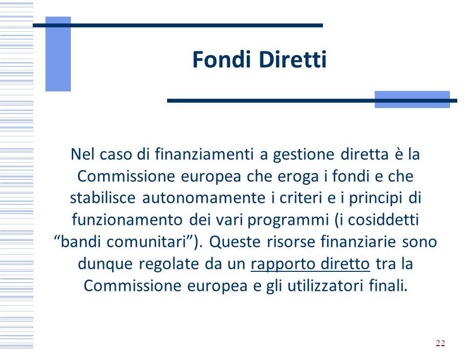 Fondi Diretti Nel caso di finanziamenti a gestione diretta è la Commissione europea che eroga i fondi e che stabilisce autonomamente i criteri e i pri