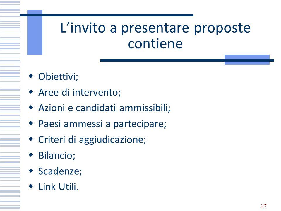 Linvito a presentare proposte contiene Obiettivi; Aree di intervento; Azioni e candidati ammissibili; Paesi ammessi a partecipare; Criteri di aggiudic
