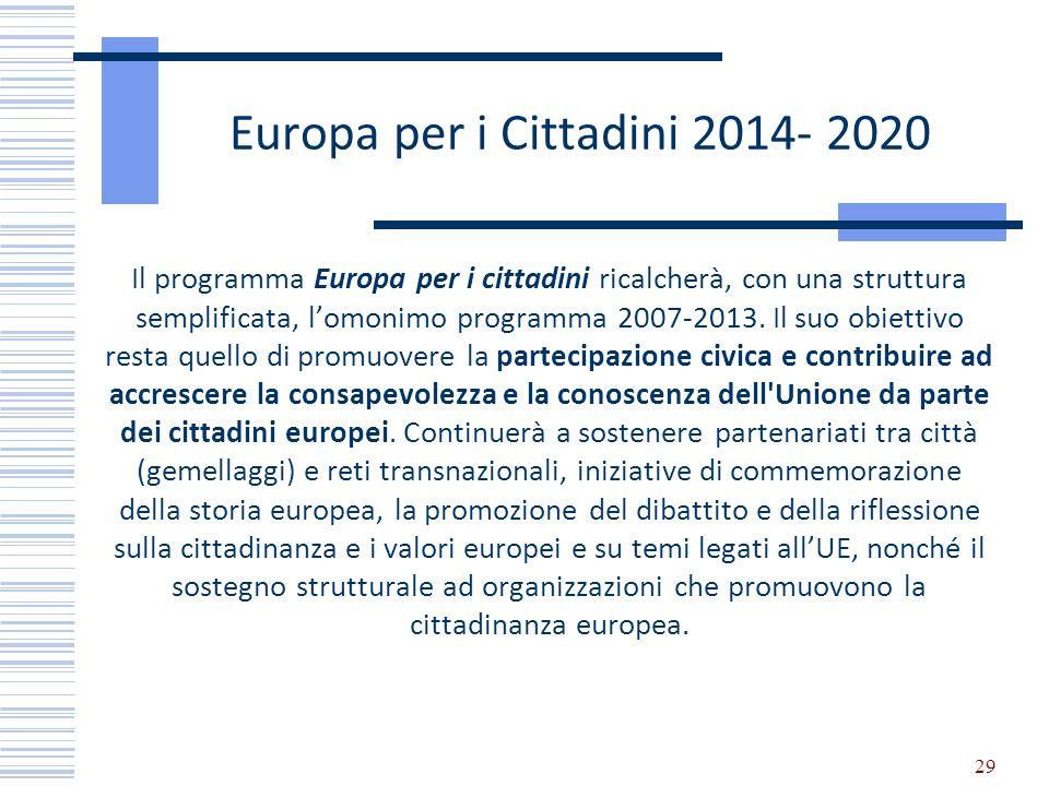 Europa per i Cittadini 2014- 2020 Il programma Europa per i cittadini ricalcherà, con una struttura semplificata, lomonimo programma 2007-2013. Il suo