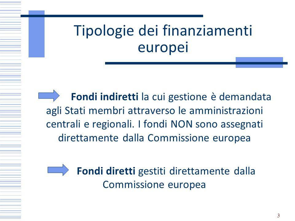 3 Tipologie dei finanziamenti europei Fondi indiretti la cui gestione è demandata agli Stati membri attraverso le amministrazioni centrali e regionali