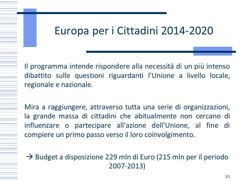 Europa per i Cittadini 2014-2020 Il programma intende rispondere alla necessità di un più intenso dibattito sulle questioni riguardanti l'Unione a liv