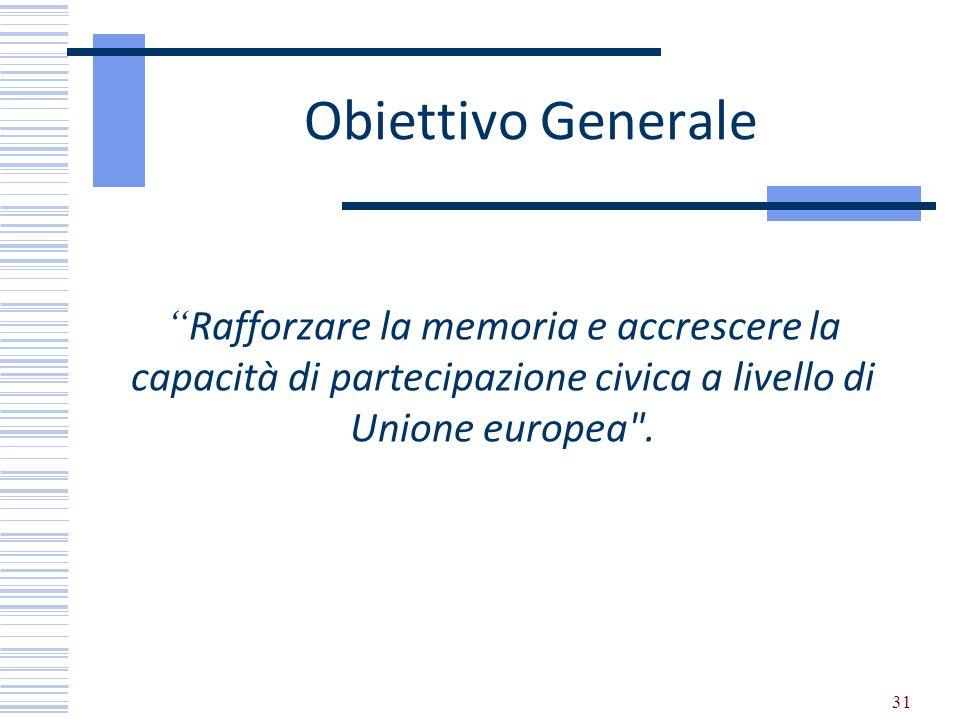 Obiettivo Generale Rafforzare la memoria e accrescere la capacità di partecipazione civica a livello di Unione europea