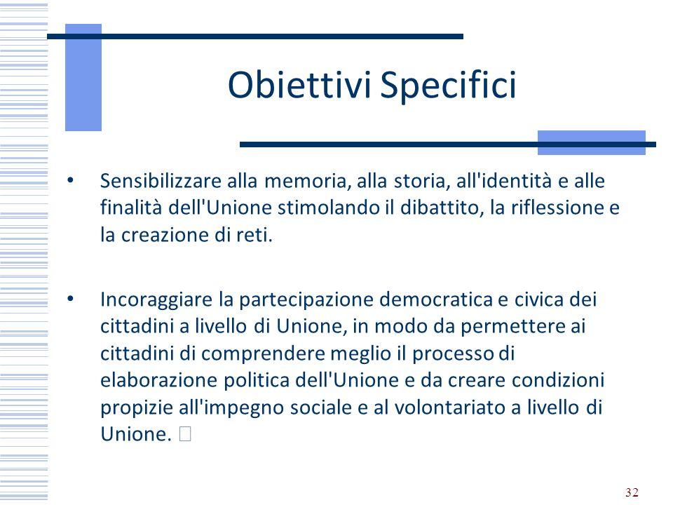 Obiettivi Specifici Sensibilizzare alla memoria, alla storia, all'identità e alle finalità dell'Unione stimolando il dibattito, la riflessione e la cr