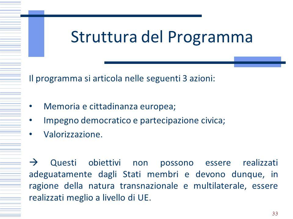Struttura del Programma Il programma si articola nelle seguenti 3 azioni: Memoria e cittadinanza europea; Impegno democratico e partecipazione civica;