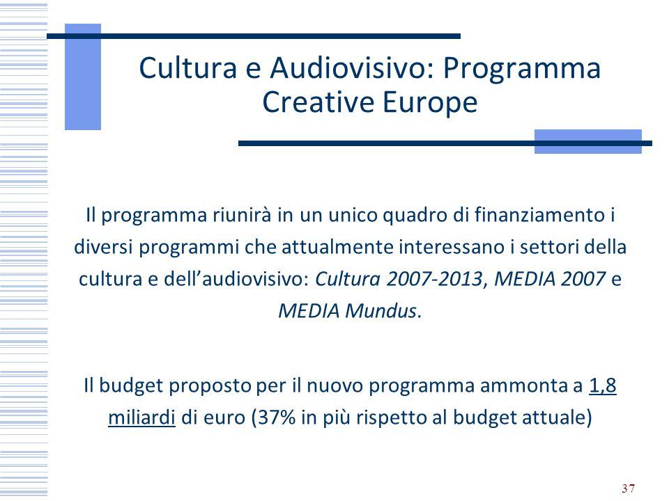 Cultura e Audiovisivo: Programma Creative Europe Il programma riunirà in un unico quadro di finanziamento i diversi programmi che attualmente interess