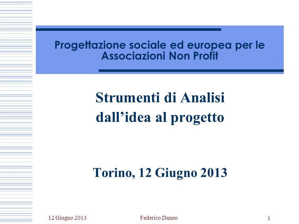 12 Giugno 2013Federico Daneo 1 Progettazione sociale ed europea per le Associazioni Non Profit Strumenti di Analisi dallidea al progetto Torino, 12 Giugno 2013