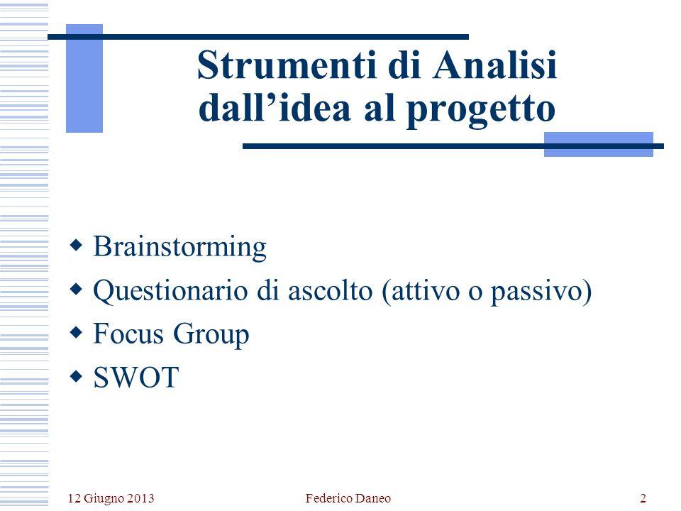 12 Giugno 2013 Federico Daneo2 Strumenti di Analisi dallidea al progetto Brainstorming Questionario di ascolto (attivo o passivo) Focus Group SWOT