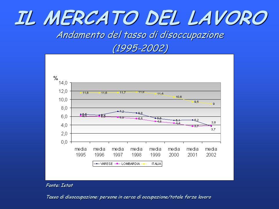 IL MERCATO DEL LAVORO Andamento del tasso di disoccupazione (1995-2002) Fonte: Istat Tasso di disoccupazione: persone in cerca di occupazione/totale forze lavoro
