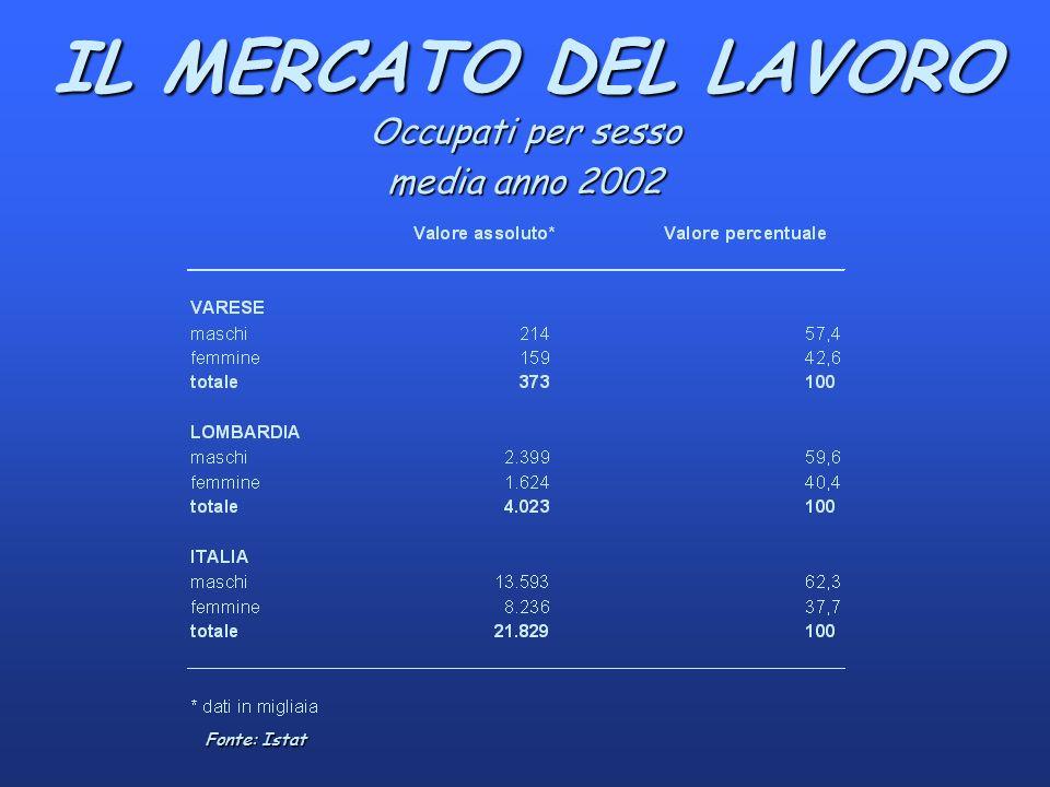 IL MERCATO DEL LAVORO Occupati per sesso media anno 2002 Fonte: Istat