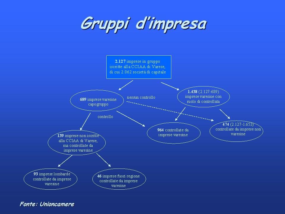 Gruppi dimpresa Fonte: Unioncamere