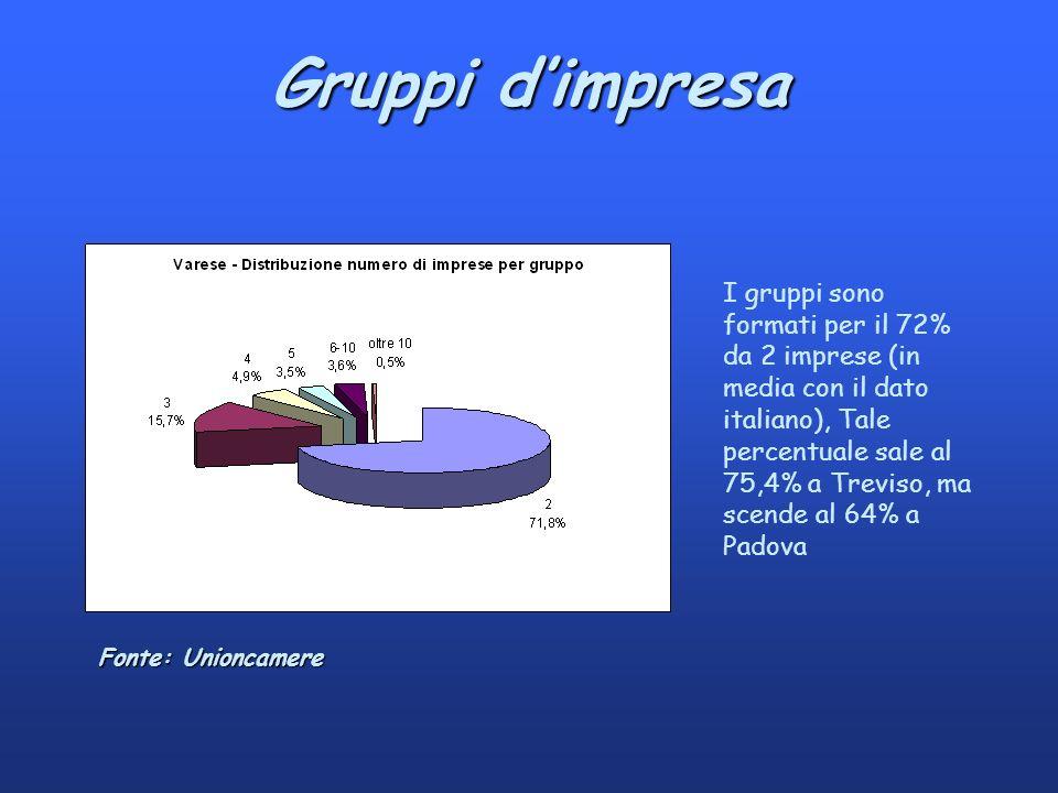 Gruppi dimpresa I gruppi sono formati per il 72% da 2 imprese (in media con il dato italiano), Tale percentuale sale al 75,4% a Treviso, ma scende al 64% a Padova