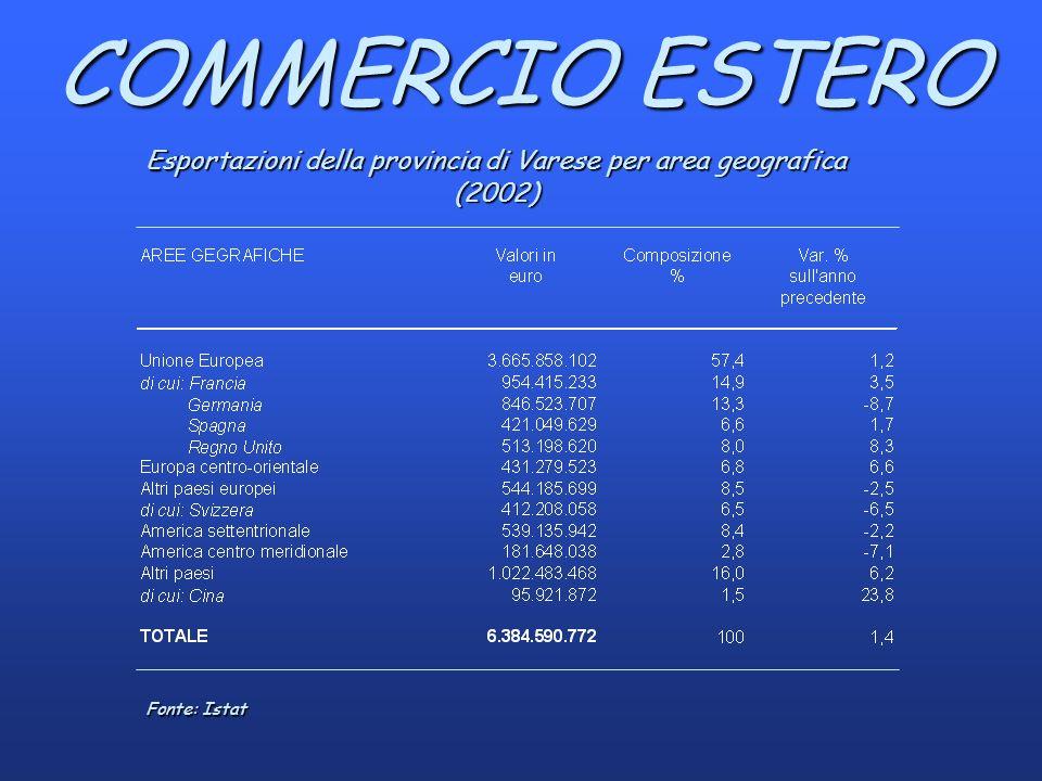 COMMERCIO ESTERO Esportazioni della provincia di Varese per area geografica (2002) Fonte: Istat