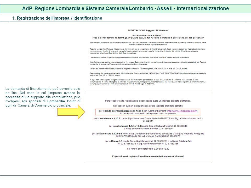 AdP Regione Lombardia e Sistema Camerale Lombardo - Asse II - Internazionalizzazione 1. Registrazione dellimpresa / Identificazione La domanda di fina