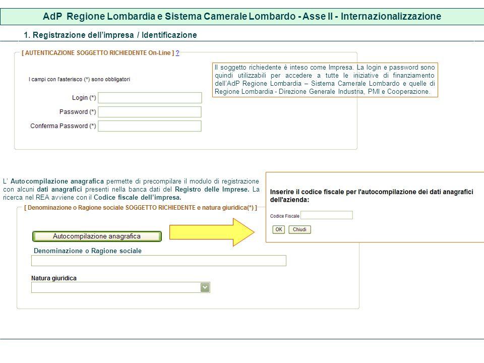 AdP Regione Lombardia e Sistema Camerale Lombardo - Asse II - Internazionalizzazione 1. Registrazione dellimpresa / Identificazione L Autocompilazione