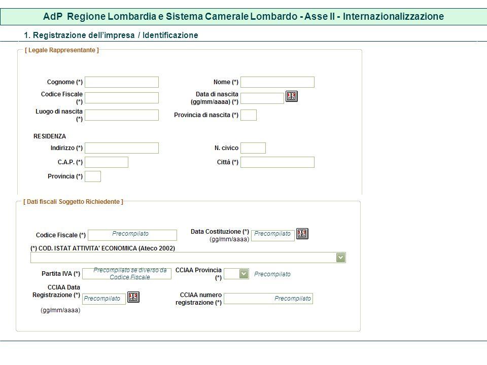 AdP Regione Lombardia e Sistema Camerale Lombardo - Asse II - Internazionalizzazione 1. Registrazione dellimpresa / Identificazione Precompilato Preco