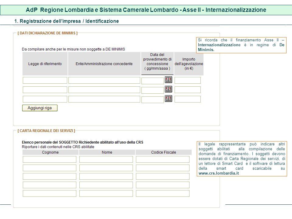 AdP Regione Lombardia e Sistema Camerale Lombardo - Asse II - Internazionalizzazione 1. Registrazione dellimpresa / Identificazione Il legale rapprese