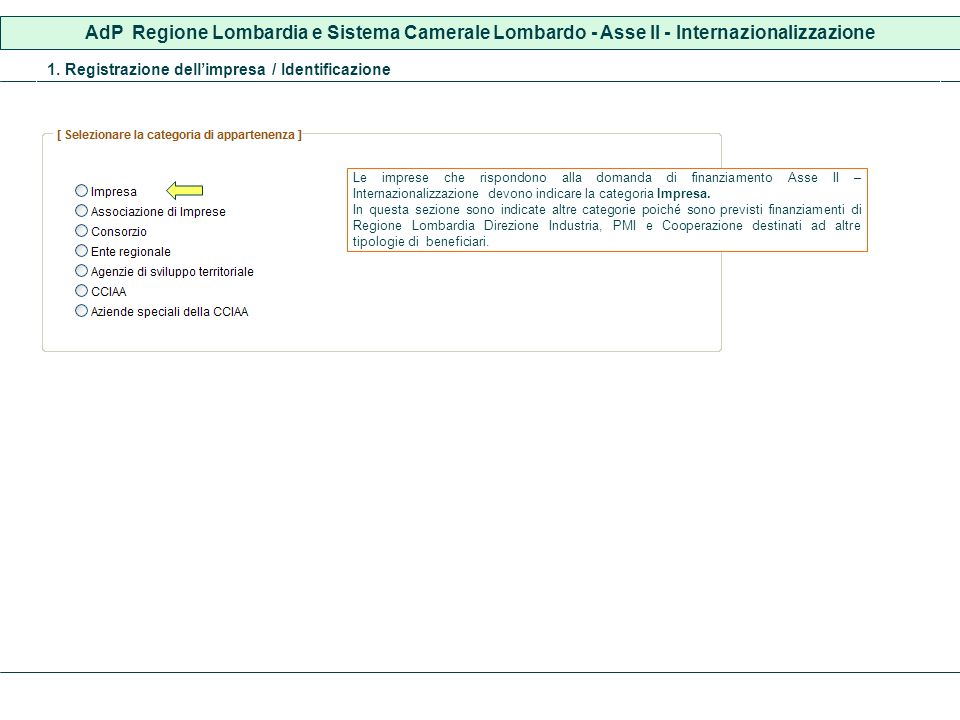 AdP Regione Lombardia e Sistema Camerale Lombardo - Asse II - Internazionalizzazione 1. Registrazione dellimpresa / Identificazione Le imprese che ris