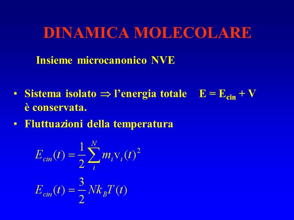 DINAMICA MOLECOLARE Insieme microcanonico NVE Sistema isolato lenergia totale E = E cin + V è conservata. Fluttuazioni della temperatura