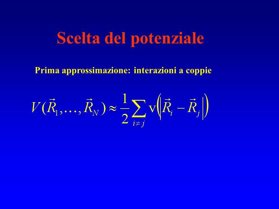 Scelta del potenziale Prima approssimazione: interazioni a coppie
