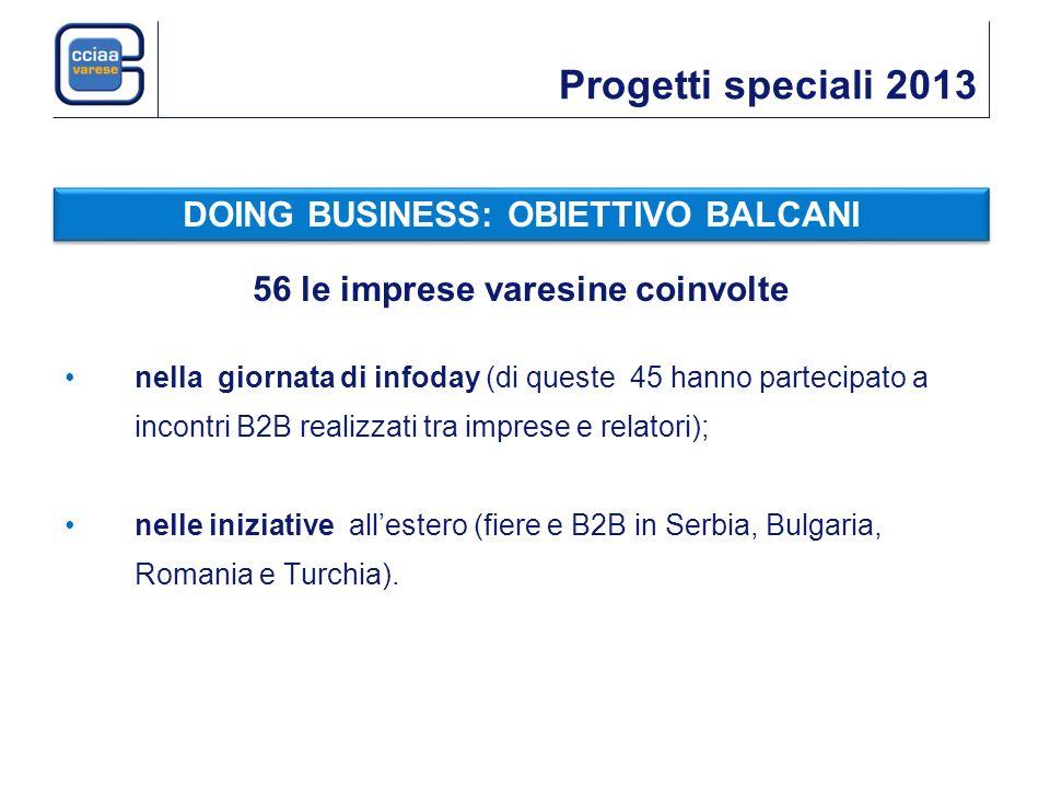 Progetti speciali 2013 56 le imprese varesine coinvolte nella giornata di infoday (di queste 45 hanno partecipato a incontri B2B realizzati tra imprese e relatori); nelle iniziative allestero (fiere e B2B in Serbia, Bulgaria, Romania e Turchia).