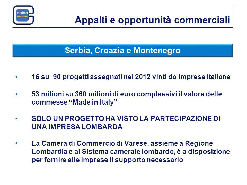 Appalti e opportunità commerciali 16 su 90 progetti assegnati nel 2012 vinti da imprese italiane 53 milioni su 360 milioni di euro complessivi il valo