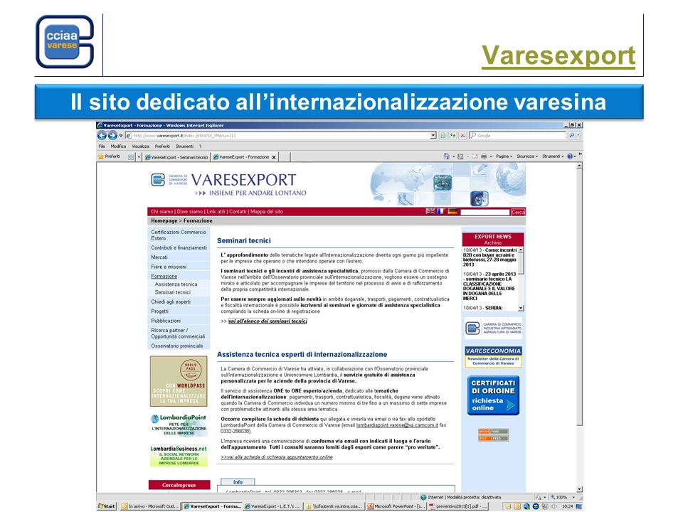 Varesexport Il sito dedicato allinternazionalizzazione varesina