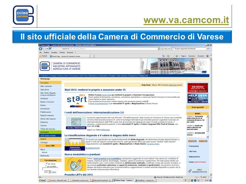 www.va.camcom.it Il sito ufficiale della Camera di Commercio di Varese