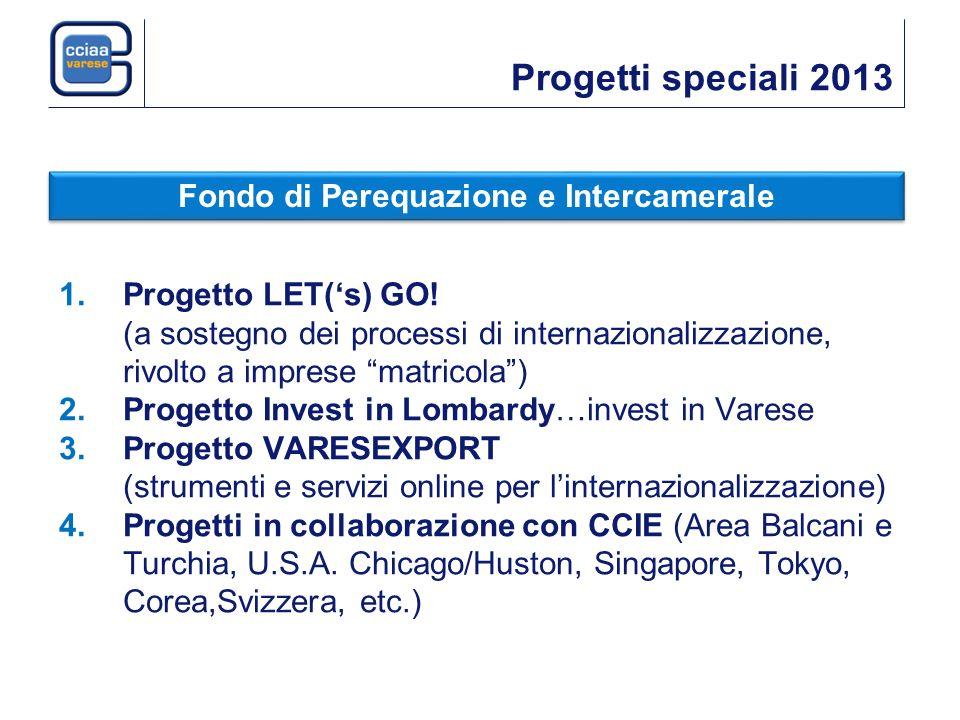 Progetti speciali 2013 1.Progetto LET(s) GO! (a sostegno dei processi di internazionalizzazione, rivolto a imprese matricola) 2.Progetto Invest in Lom