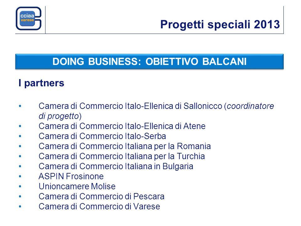 Progetti speciali 2013 I partners Camera di Commercio Italo-Ellenica di Sallonicco (coordinatore di progetto) Camera di Commercio Italo-Ellenica di At